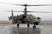A Russian Kamov Ka-52 Hokum B Alligator has landed aboard the French Navy ship Mistral. - ©French Navy image - Ka-52K Katran Helicopter is a ship-based version of the Ka-52 Alligator reconnaissance and combat helicopter, which is under production for the Russian Armed Forces. Designed for operations aboard the French-built Mistral-class amphibious assault ships, the helicopter is being manufactured by JSC Russian Helicopters. [naval-technology.com]
